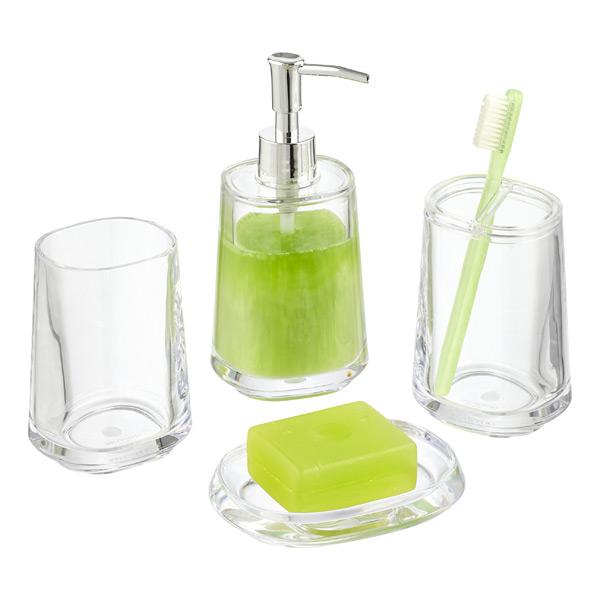 Capri Plastic Countertop Bathroom Set, Clear Bathroom Accessories