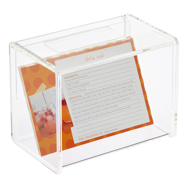 acrylic recipe box with card holder - Index Card Holder