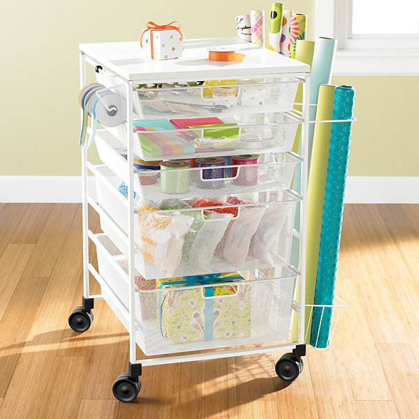 Gift Wrap Cart White elfa Mesh Gift Wrap Cart The Container Store