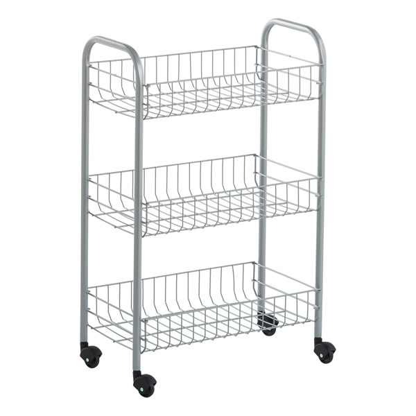 Silver 3-Tier Siena Rolling Cart | The Container Store