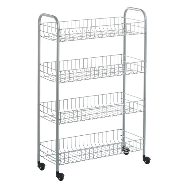 Silver 4 Tier Slim Rolling Cart