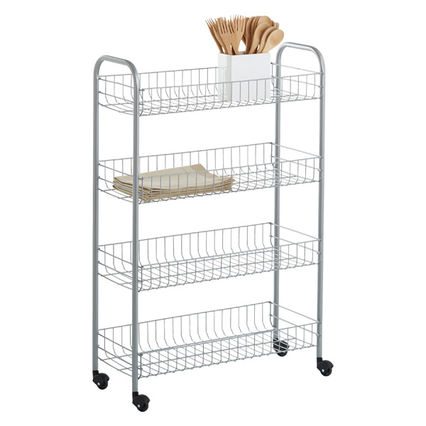 Rolling Cart Silver 4 Tier Slim Rolling Cart The