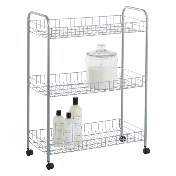 Silver 3-Tier Grande Rolling Cart | The Container Store on bathroom cabinets on wheels, bathroom space saver storage, bathroom storage solutions, bathroom wall mounted cabinets, bathroom rolling carts, bathroom storage on wheels, bathroom cleaning cart, bathroom caddies on wheels, bathroom table with wheels, bathroom counters on wheels, rolling metal cart on wheels, bathroom vanities product, bathroom organization and storage, hotel luggage cart wheels, bathroom shower caddies, bathroom shelving ideas, bathroom storage carts, bathroom drawer organizers, bathroom organizer cart, bathroom caddy on wheels,
