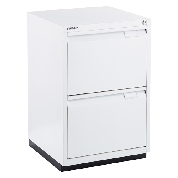 bisley white premium 2-drawer locking filing cabinet | the