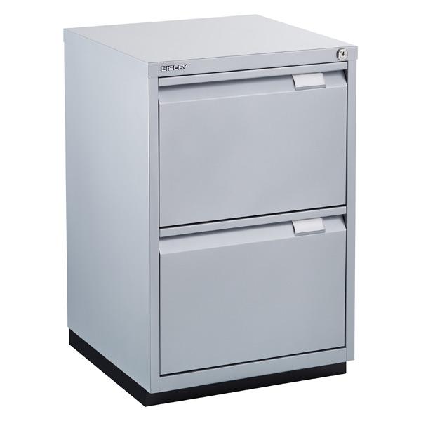 bisley silver premium 2-drawer locking filing cabinet   the