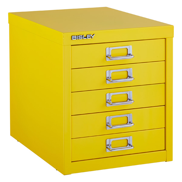Bisley Yellow 5 Drawer Cabinet