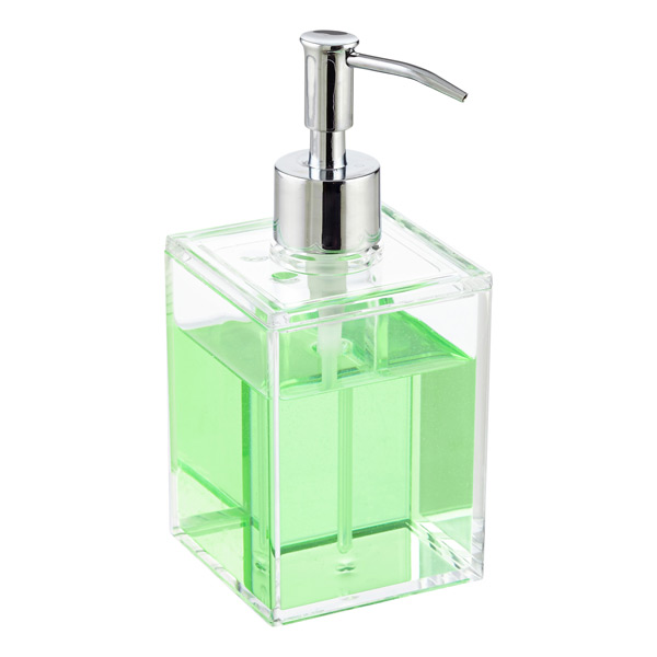 Clear acrylic countertop bathroom set the container store for Clear bathroom accessories