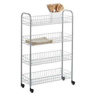 Wire Kitchen Cart | Rolling Cart Silver 4 Tier Slim Rolling Cart The Container Store