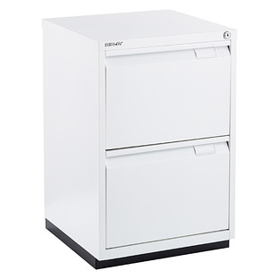 Bisley White Premium 2 Drawer Locking Filing Cabinet