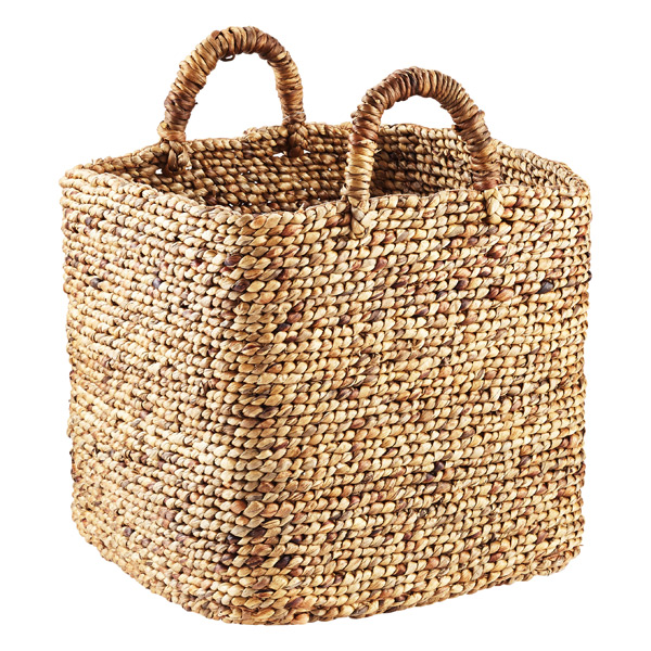 Braided Water Hyacinth Storage Cube with Handles The Container Store