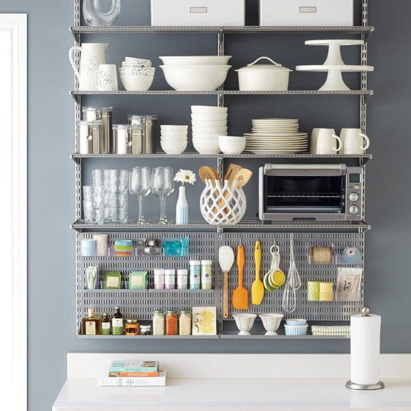 Platinum Elfa Utility Kitchen Shelving | The Container Store