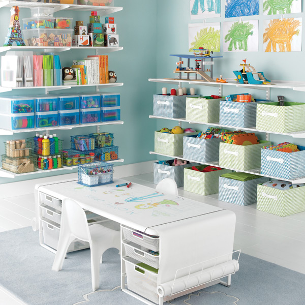 White Elfa Playroom