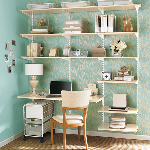 Sand white elfa office the container store - Container store home office ...