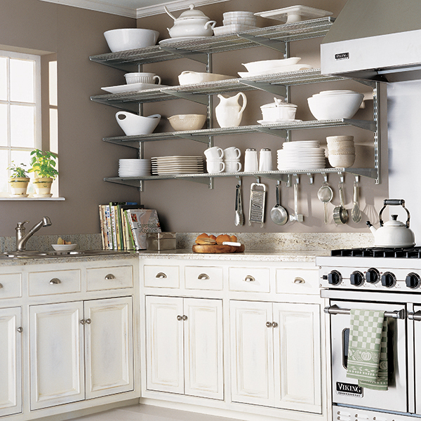 kitchen wall shelves platinum elfa kitchen wall the container store rh containerstore com open shelves for the kitchen storage shelves for the kitchen