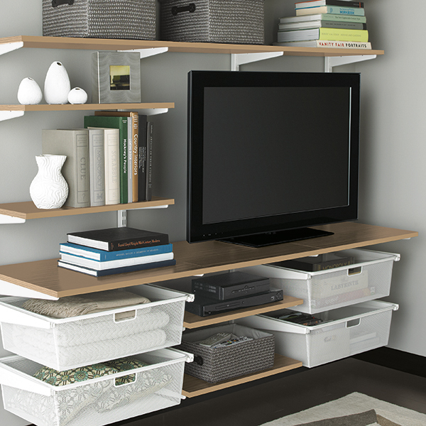 living room drawers. White Living Room Shelves  Coffee elfa The Container Store
