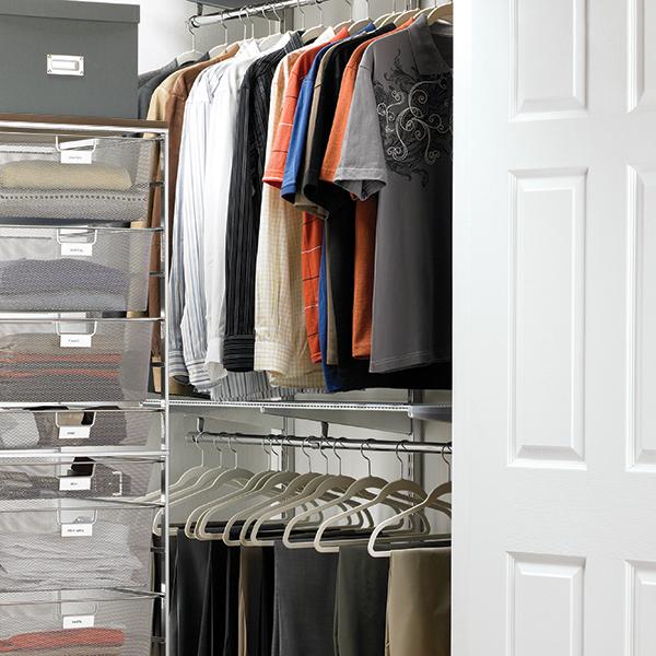 platinum elfa loft walk-in closet | the container store