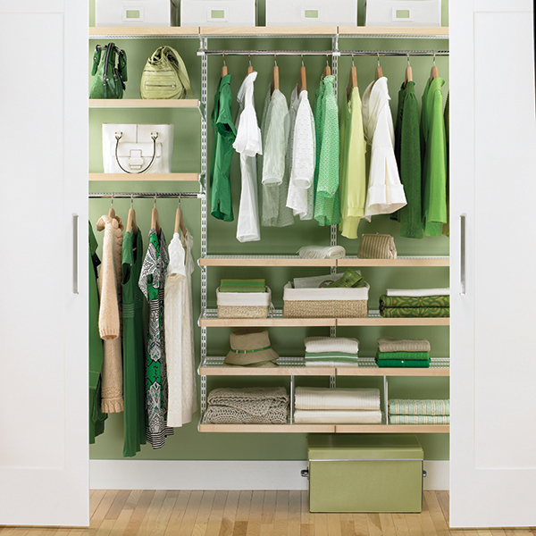 Birch White Elfa Reach In Closet Space Design