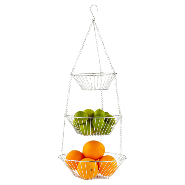 Chrome 3-Tier Hanging Basket | The Container Store