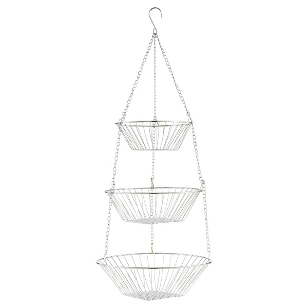 Chrome 3 Tier Hanging Basket