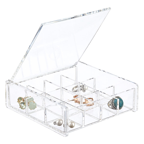 12 Section Acrylic Square Hinged Lid Box The Container Store