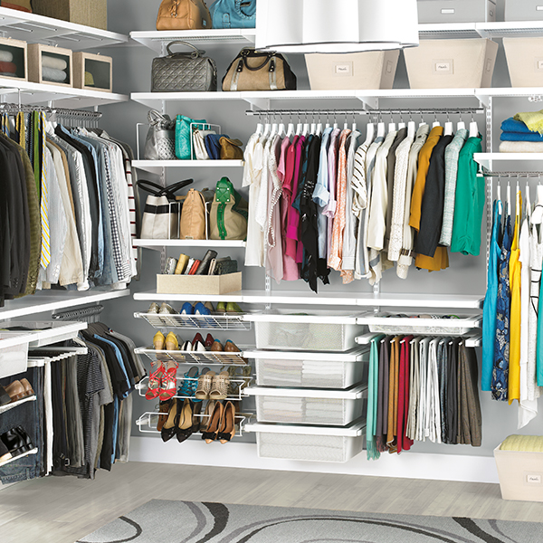 His And Hers Walk In Closet white elfa décor his & hers closet | the container store