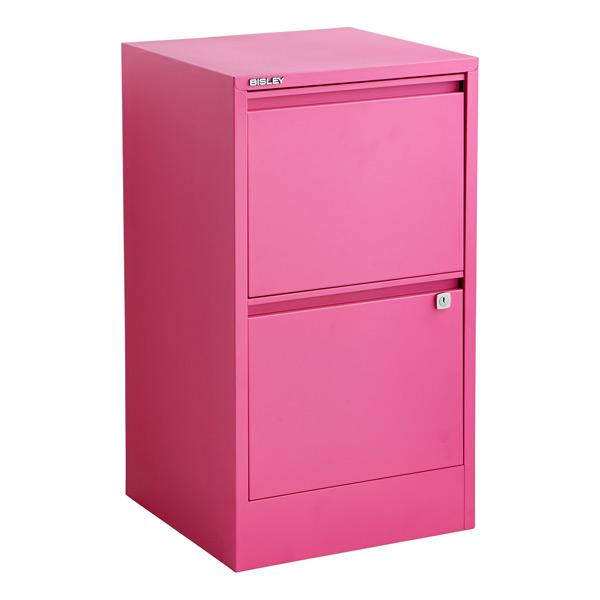 Bisley Pink 2 Amp 3 Drawer Locking Filing Cabinets The