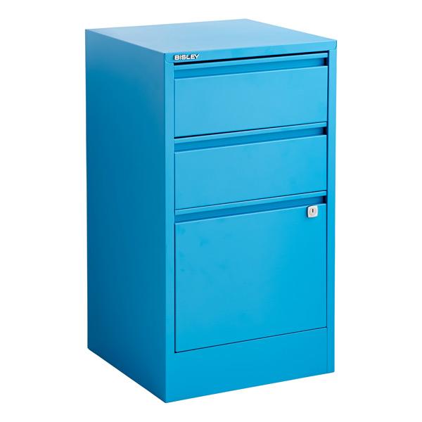 Bisley Cerulean Blue 2 Amp 3 Drawer Locking Filing Cabinets