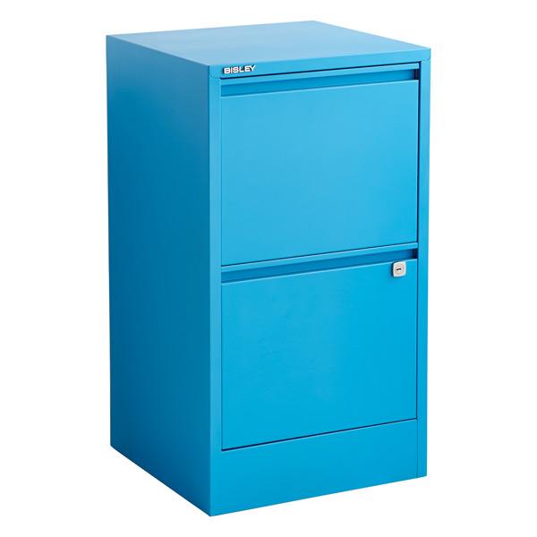 Bisley Cerulean Blue 2 3 Drawer Locking Filing Cabinets