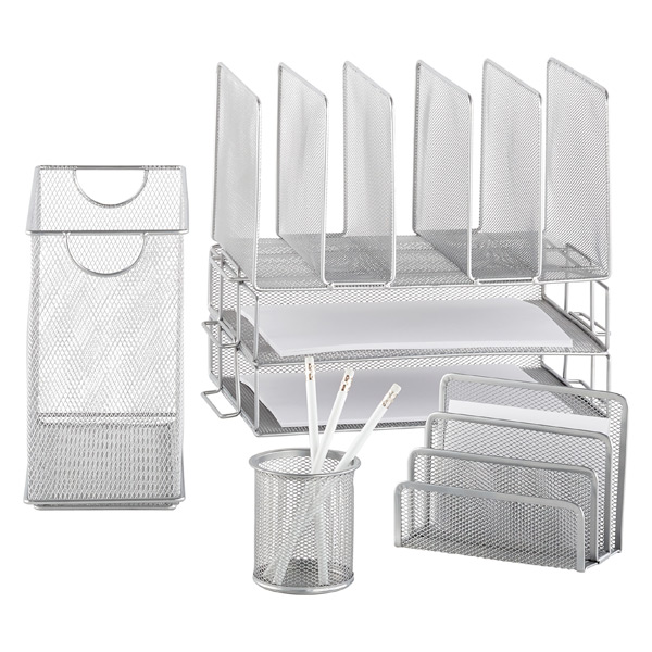 Silver Mesh Desktop File | The Container Store