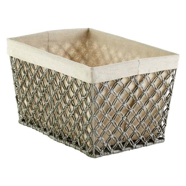 Grey Cottage Woven Storage Bins: Grey Lattice Storage Bins