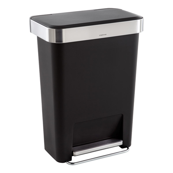 black 12 gal rectangular can with liner pocket