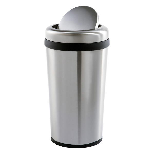 Stainless Steel 12 Gal Round Swing Lid Trash Can The Container Store