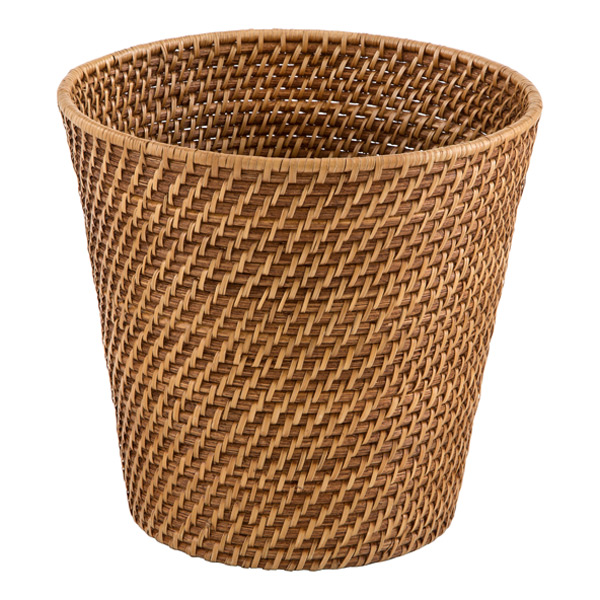 Copper rattan wastebasket the container store - Copper wastebasket ...