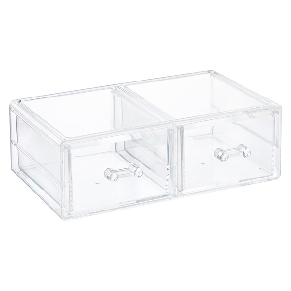 Crystal 2-Drawer Stacking Organizer Clear