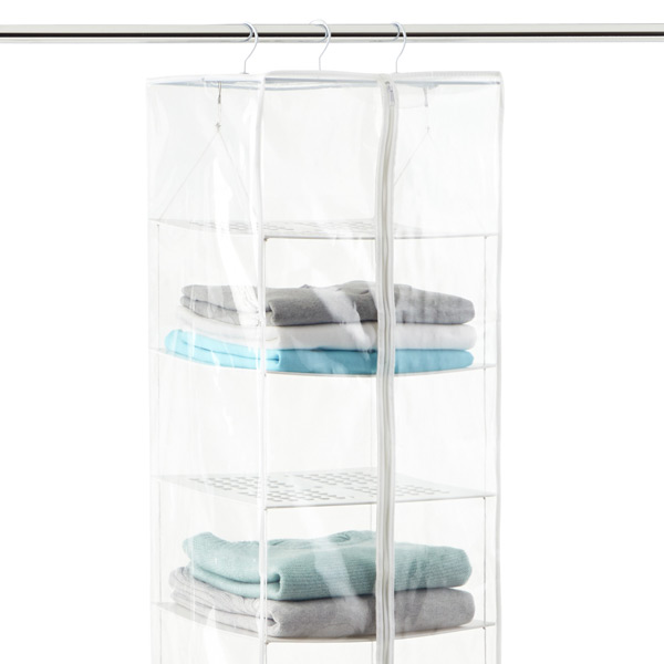peva 8 compartment hanging sweater organizer the container store rh containerstore com hanging sweater shelves hanging sweater organizer