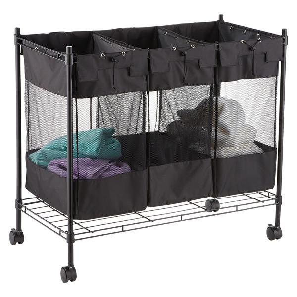 Black Steel Frame Household Essentials Triple Sorter Storage Bin with Wheels