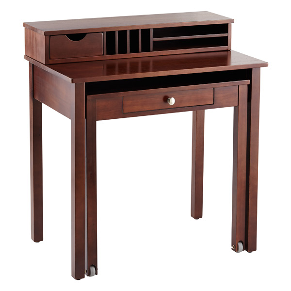 solid wood desk with hutch mahogany java roll out white table top