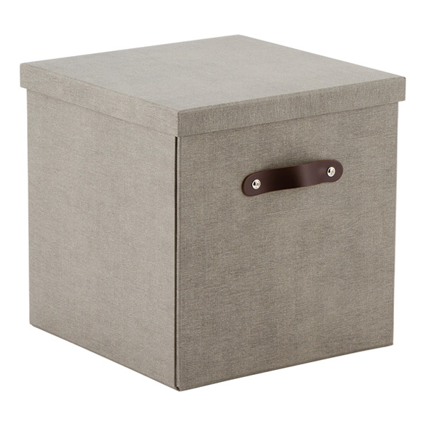 Grey Bigso Marten Cube ...  sc 1 st  The Container Store & Bigso Marten Grey Storage Cube with Leather Handles | The Container ...