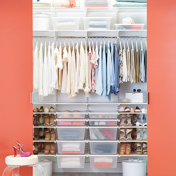 White Elfa Chic Reach In Closet