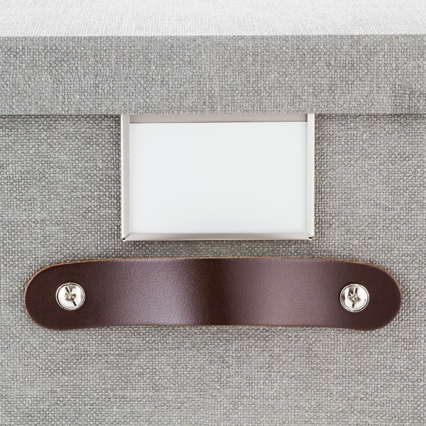 Exceptionnel Bigso Marten Grey Storage Cube With Leather Handles