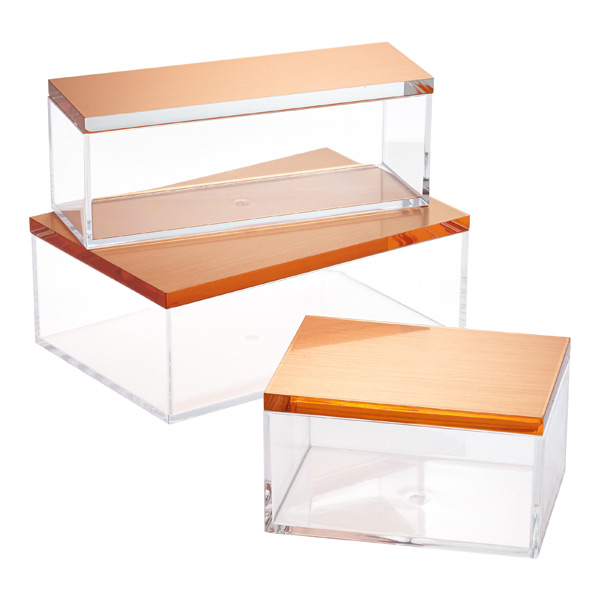 Clear Boxes Brushed Copper Lids Container Store