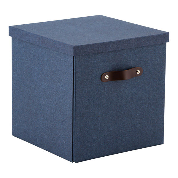 Bigso Marten Navy Storage Cube with Leather Handles The Container