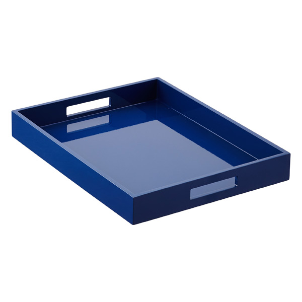 Lacquer Tray Navy Lacquered Serving Tray With Handles