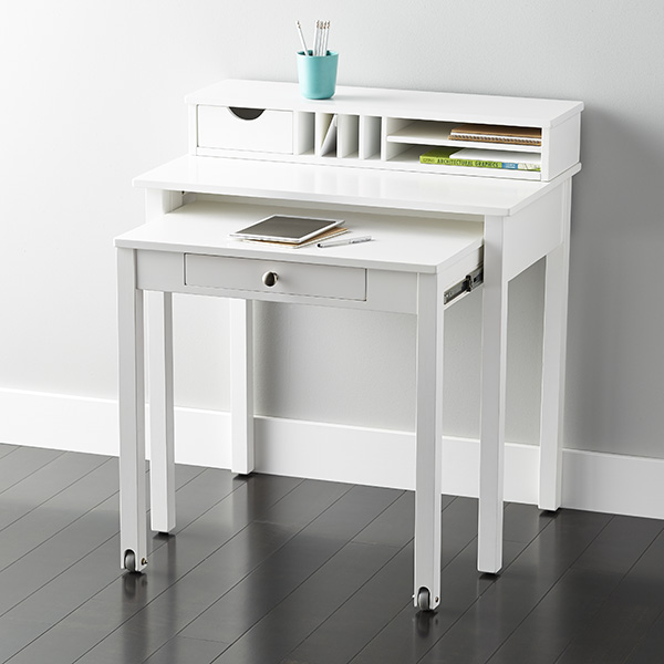 White desk white solid wood roll out desk the container store - Desks for small spaces for kids gallery ...