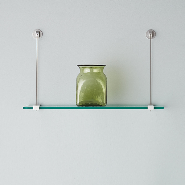 Glass wall shelves with cable brackets the container store for Small glass wall shelf