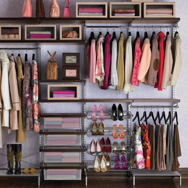 Freestanding closet walnut platinum elfa d cor - Vestir un armario por dentro ...