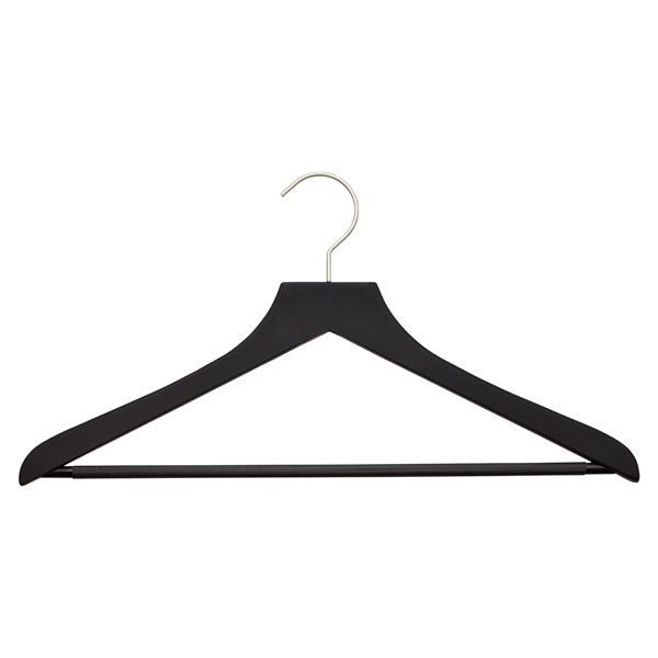 petite basic black soft matte wooden hangers
