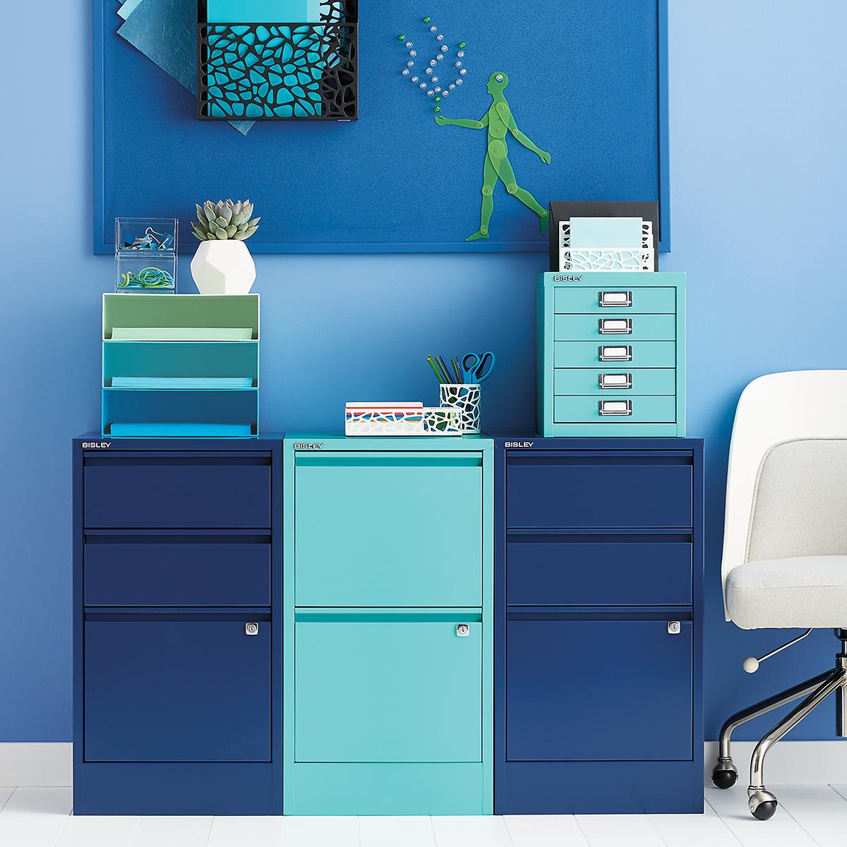 Roll Around File Cabinets Bisley Oxford Blue 2 3 Drawer Locking Filing Cabinets The