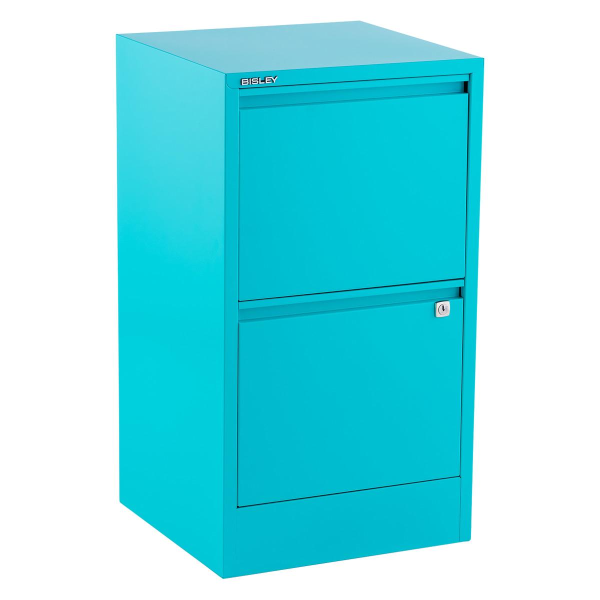 Bisley Aqua 2  U0026 3 Drawer Locking Filing Cabinets