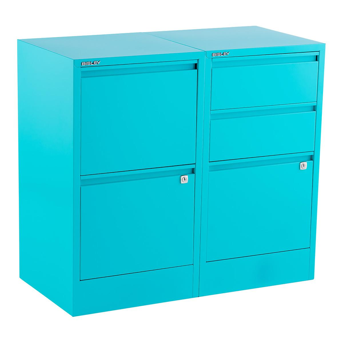 bisley aqua 2- & 3-drawer locking filing cabinets | the container